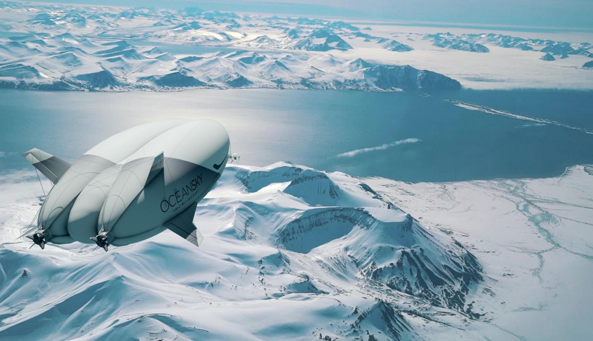 Bru & Bru agencia de viajes, OceanSky Cruises, vuelos en dirigible al Polo Norte. Visualization by KIRTxTHOMSEN